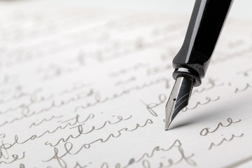 Fountain Pen on Written Page