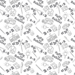 Back to school vector seamless pattern with set of different stationery and school items.
