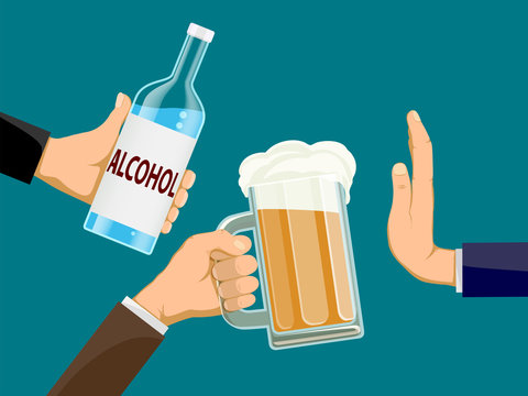 People is holding a bottle of alcohol and glass of beer in hands. Another man refuses to drink.