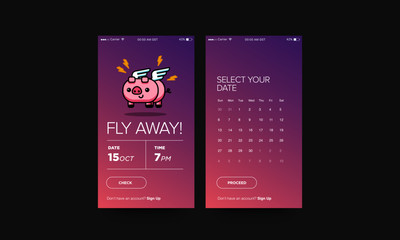 Airplane Ticket App for For Smart Phone with Cute Flying Pig Card Vector Illustration