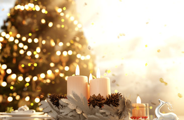 Christmas night,Candles decorated in christmas scene background with copyspace for your text and ideas,3d rendering