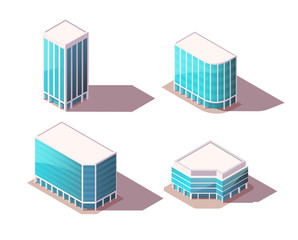 Vector isometric set office buildings with realistic shadows. High Quality City Elements for Map. Low poly town.