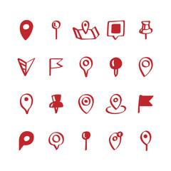 Illustration set of map pin icons