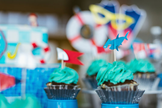 birthday cupcakes with shark decoration