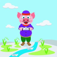 Pig lets paper boats in the stream. Vector illustration. Symbol of 2019.