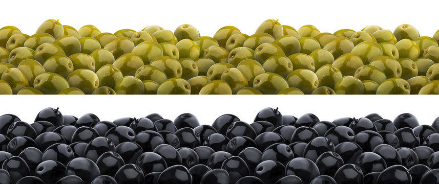 Heap of marinated olives seamless pattern. Isolated on white background