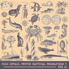 Full Vector Collection of Original Nautical Engravings Set 3