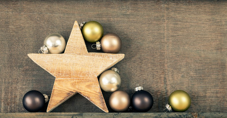 Christmas decoration glass balls with wooden star