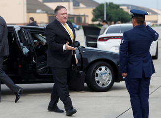 U.S. Secretary of State Pompeo heads to his plane to depart for Saudi Arabia from Joint Base Andrews, Maryland