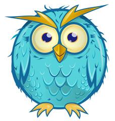 blue owl cartoon isolated on white background