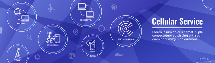 Mobile Cellular Service Web Header Banner with Cellphone Towers and Service area.