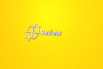 Text Review with light blue 3D illustration and yellow background