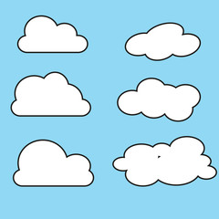 White cloud icon set. Fluffy clouds. Cute cartoon cloudscape. Cloudy weather sign symbols. Flat design Web, app decoration element. Blues sky background. Isolated. Vector illustration