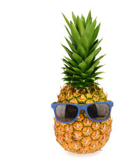 Pineapple in sunglasses isolated on white