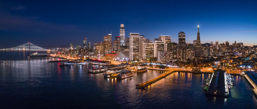 Aerial View of San Francisco Skyline with Holiday City Lights