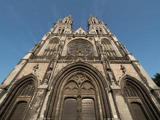 Front view of St. Peter and St Paul church in the Belgian city of Ostend.