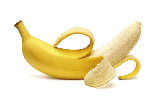 Peeled banana isolated on white background