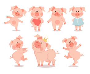 Cartoon little dancing piglets. The year of the pig. Chinese New