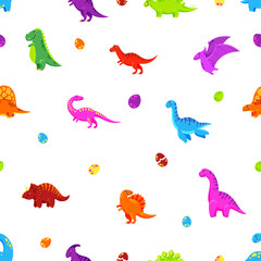 Dinosaur cartoon vector background. Seamless pattern, texture, wallpaper
