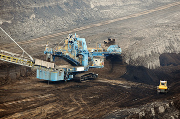 aerial view in coal mine with bucket wheel excavator.