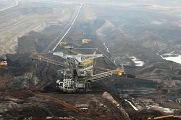 aerial view in coal mine with bucket wheel excavator.