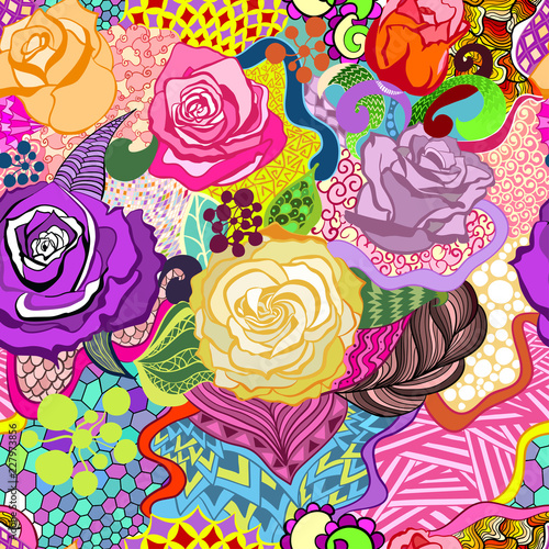 Colored Background From Roses In The Style Of Zentangle Stock Image