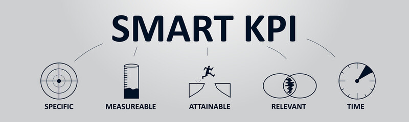 Smart KPI Concept Banner with Icons. Key Performance Indicator using Business Intelligence Metrics to Measure Achievement.