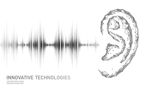 Sound recognition voice assistant low poly. Wireframe mesh polygonal 3D render ear sound radio wave innovative technology waveform. Audio equalizer digital computer concept vector illustration