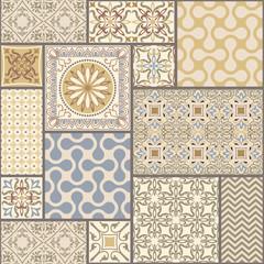 Seamless tile pattern. Colorful lisbon, mediterranean floral ornament pattern. Square flower mosaic. Islam, Arabic, Indian, Turkish, Pakistan, Chinese Moroccan, Portuguese Ottoman motifs.