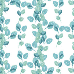 Vector pattern from leaf foliage. Trendy color. Seamless background