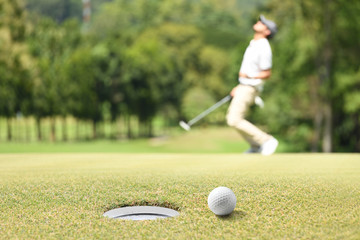 Man golfer cheering after a golf ball on a golf green