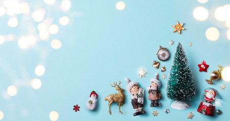 Christmas holidays light and ornament flat lay; Christmas card background