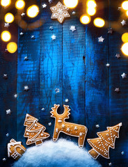 Christmas holiday banner with Christmas candy composition on blue background