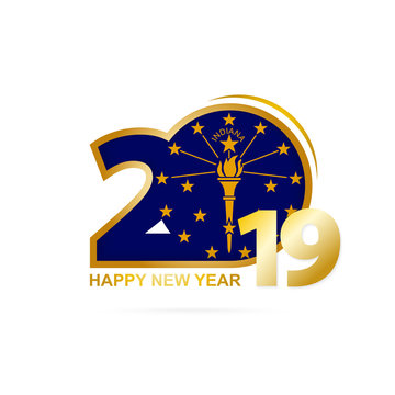 Year 2019 with Indiana Flag pattern. Happy New Year Design.