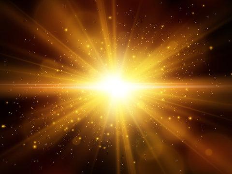 Light effect. Star burst with sparkles. Gold glitter texture