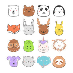Cute forest and fantasy animals collection for baby print, card and invitation. Cartoon vector illustration. Bear, panda, sloth, fox and owl faces set. Portraits for children's goods