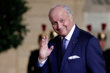 President of the French Constitutional Council Laurent Fabius arrives to attend a state dinner in honour of the South Korean President at the Elysee Palace in Paris