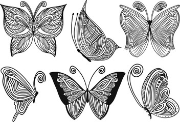 Black butterfly on a white background, element for design, vector illustration.
