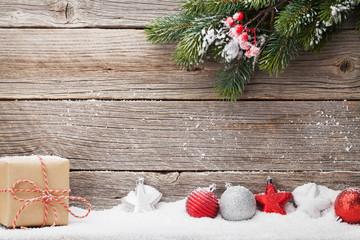 Christmas gift box, decor and xmas fir tree