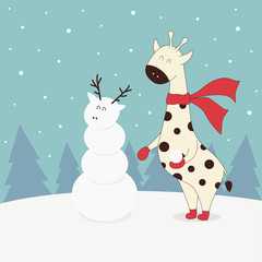 winter illustration with giraffe