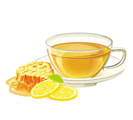 Cup of herbal tea with lemon and honeycomb. Illustration on isolated white background
