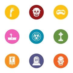 Dead guy icons set. Flat set of 9 dead guy vector icons for web isolated on white background