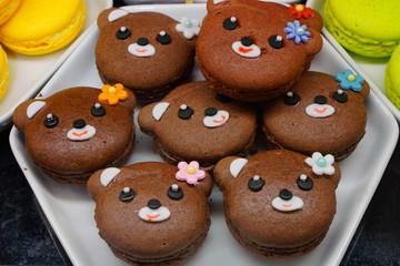 Macaron cookies shaped like cute animals