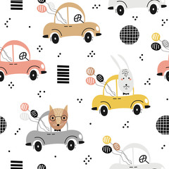 Seamless baby pattern with cute fox, rabbit in the car. Creative kids texture for fabric, textile, wallpaper, and wrapping. Vector illustration