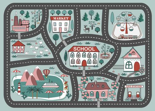 Play mat for children activity and entertainment. Cartoon city landscape