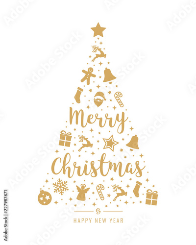 Christmas Tree Icon.Christmas Tree Golden Icon Elements Lettering Isolated