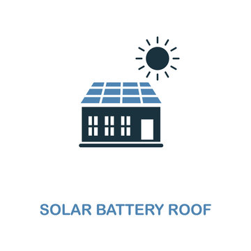 Solar Battery Roof icon in two colors design. Premium style from smart devices icon collection. UI. Illustration of solar battery roof icon. For web design, apps, software and printing.