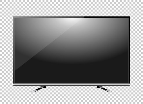 Black LED tv television screen blank on background