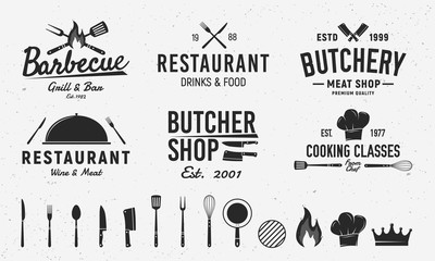 6 Vintage logo templates and 14 design elements for restaurant business. Butchery, Barbecue, Restaurant emblems templates. Vector illustration