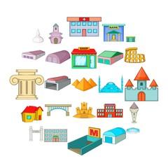 Urban sprawl icons set. Cartoon set of 25 urban sprawl vector icons for web isolated on white background